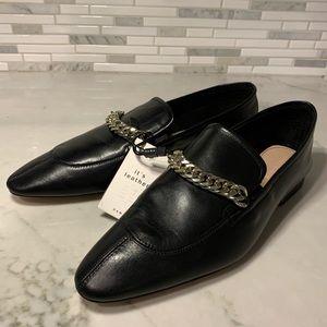 NWT Zara Genuine 100% Leather Loafers w/ Chain